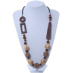 [JS0025] Wood bead geometric leather style cord necklace