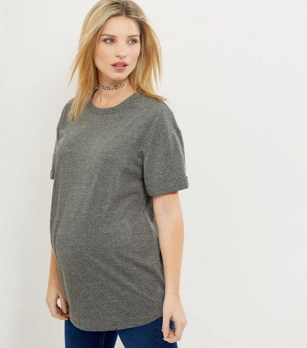 NEW LOOK, Maternity Grey Rolled Sleeved Boyfriend T-shirt