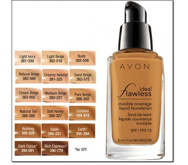 AVON ideal flawless coverage foundation (fond de teint couvrance invisible) SPF 15 30ml
