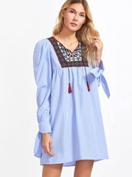 [MAXDR00003] Blue striped embroidered yoke tie sleeve dress